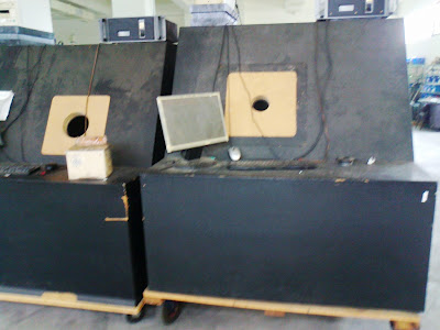 Driver test station, note the smaller cut out on the right is for testing tweeters, while the bigger one on the left is for testing larger dynamic cones drivers.
