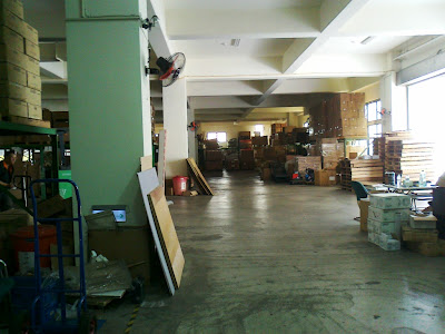 A section of the raw materials and in coming parts warehouse.