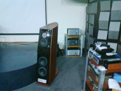 Usher CP-8871 Diamond DMD speakers undergoing listening test, powered by Usher Audio's electronics.